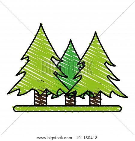 Wonderful trees forest icon vector illustration design graphic scribble