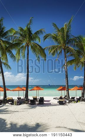 station 2 main beach area of tropical paradise boracay island philippines