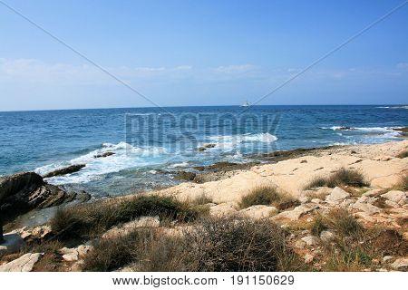 view at the blue sea in national park Kamenjak, Croata