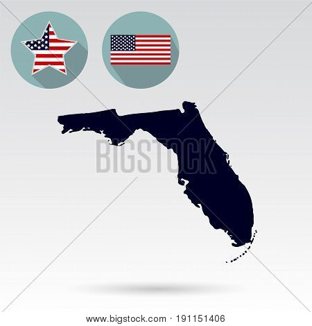 Map of the U.S. state of Florida on a white background. American flag star.