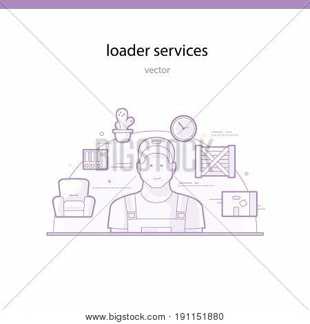 Services of a loader and a freight company for transportation. Line vector illustration
