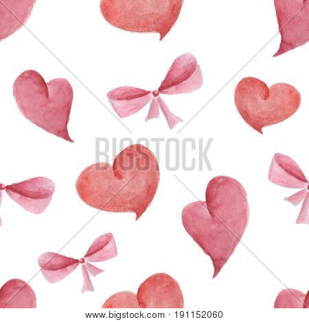Watercolor pattern of hearts and bows seamless design on white background.