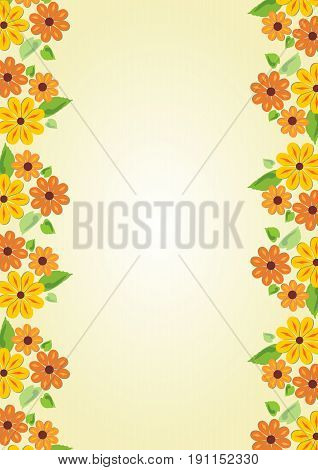 Beauty cheerful yellow background with floral motif on the sides. Vertical oriented template with place for own message on old yellowed paper area