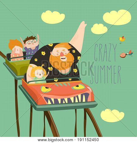 Daddy with kids riding roller coaster in an amusement park. Vector illustration
