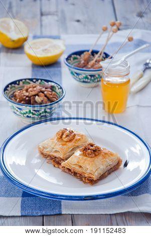 Turkish nut and phyllo pastry dessert, baklava