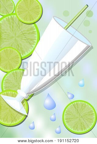 Drink card background with a glass lime slices and water drops. Delicious cold fruit drinks refreshing in the summer heat. Fresh juice with fruits