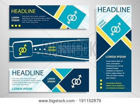 Male And Female Icon  On Horizontal And Vertical Banner