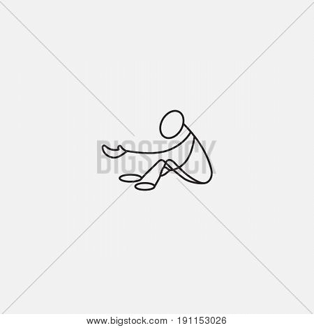 Beggar stick man vector sitting on the floor and asking for charity