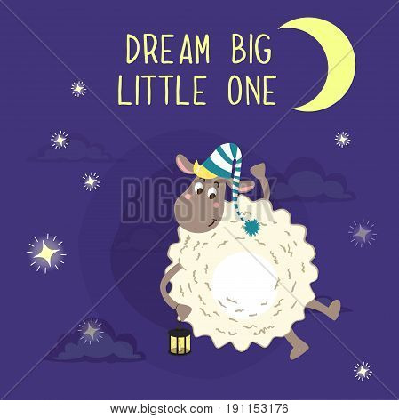 Dream big little one vector illustration with cute sheep