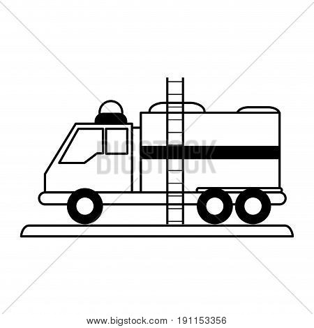 Fire truck puts out fire illustration vector design icon silhouette