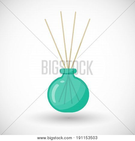 Reed diffuser with essential oils vector flat icon Flat design of aromatherapy spa or Buddhism object with round shadow vector illustration