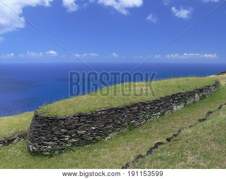 Orongo ruins at Easter island. Ancient archeology