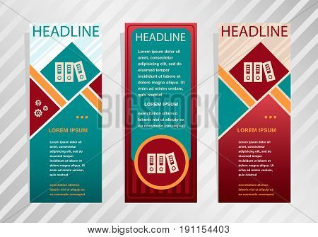 Binders Icon On Vertical Banner. Modern Abstract Flyer, Banner, Brochure Design Template.