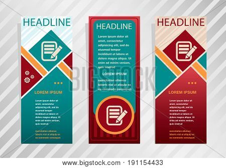 Document Icon On Vertical Banner. Modern Abstract Flyer, Banner, Brochure Design Template.