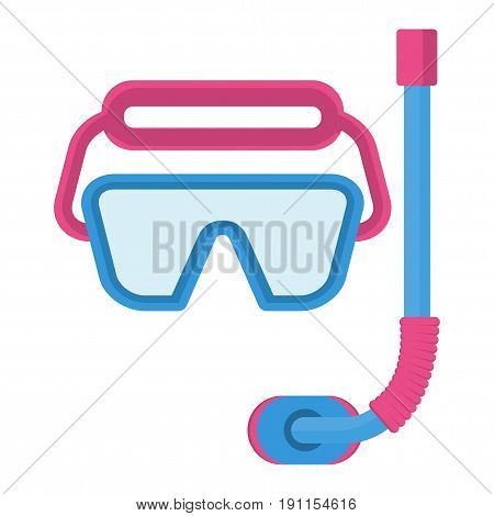 Mask for diving. Flat vector cartoon illustration. Objects isolated on a white background.