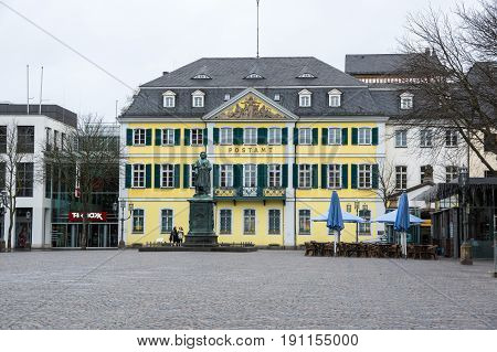 BONN GERMANY - FEBRUARY 21 2016: Post office of Bonn a city on the banks of the Rhine in the German state of North Rhine-Westphalia Germany