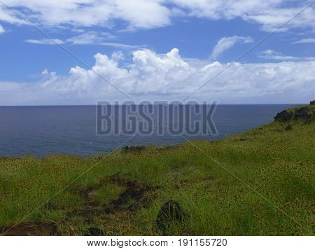 View of Easter Island. Seascape in daytime