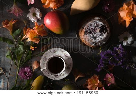 Still life of summer tea party top view horizontal