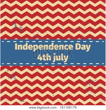 American Independence Day 4 Th July. Greeting Card Design. Ribbon Banner.vector Illustration. Patrio