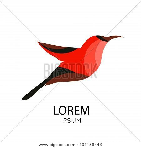 Abstract icon of a bird in bright colors on white background. Vector illustration.