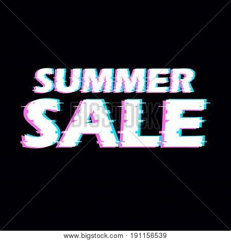 Sign summer sale with distorted glitch effect. Trendy style lettering typeface. Words summer sale in dark linear design noise. Digital image data distortion Vector illustration stock vector.