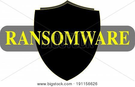 Ransomware Word conceptual Illustration. Ransomware attack text isolated flat vector. Transparent.