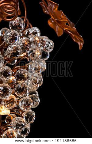Classic chandelier like a bunch of grapes isolated on black background. chandelier for living room, bedroom, dinning room.