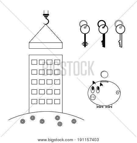 The process of building a house. New building. Purchase of housing in a mortgage. Piggy bank with a coin. A set of keys from the apartment. Set of icons.