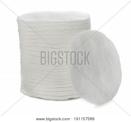 Pile of cotton pads isolated on white background