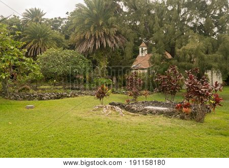 Cemetery of Palapala Ho'omau Church contains the grave and marker of Charles Lindbergh on Hawaiian island of Maui
