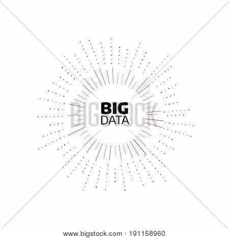 Big data minimal flat icon. Circle shape stripes and lines with digits. Bigdata design concept illustration. Round pattern