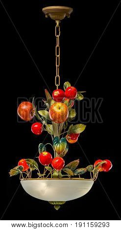 Classic chandelier in flower style isolated on black background. chandelier for dinning room.