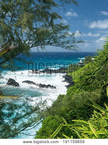 Gazebo viewpoint overlooks coast by St Peters Church near Hana on Hawaiian island of Maui