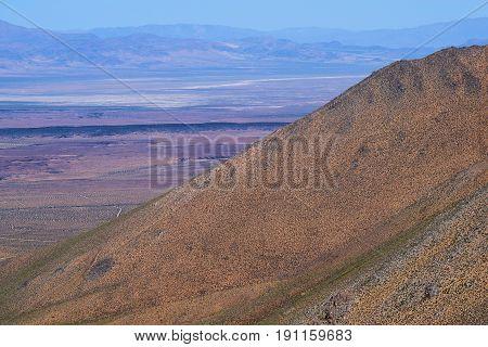 Arid desert mountains overlooking the Mojave Desert, CA