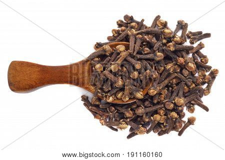 Set of peppercorn in wooden spoon isolated