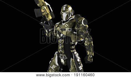 3d render of advanced super soldier with gun