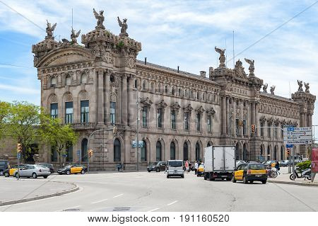 BARCELONA, SPAIN - MAY 2017: Aduana de Barcelona, old customs building (designed by Sagnier i Villavecchia) built in neoclassical style at Port Vell.