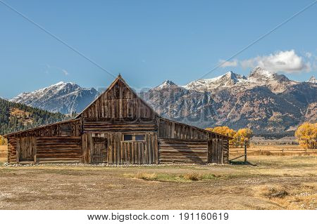 the iconic Moulton Barn in Grand Teton National Park in fall