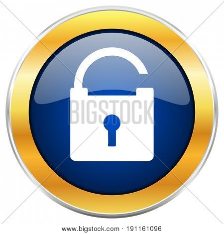 Padlock blue web icon with golden chrome metallic border isolated on white background for web and mobile apps designers.