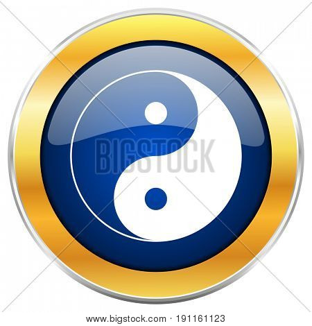 Ying yang blue web icon with golden chrome metallic border isolated on white background for web and mobile apps designers.