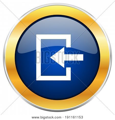 Enter blue web icon with golden chrome metallic border isolated on white background for web and mobile apps designers.