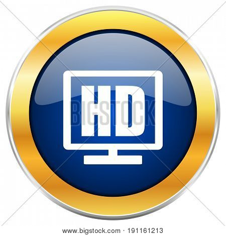 Hd display blue web icon with golden chrome metallic border isolated on white background for web and mobile apps designers.