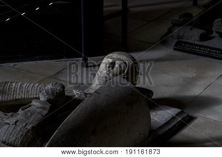 LONDON, GREAT BRITAIN - SEPTEMBER 19, 2014: This is an ancient knight's sarcophagus of the Knights Templar in the Temple Church.
