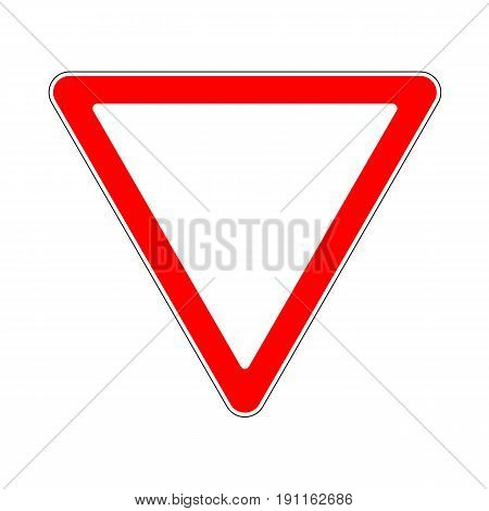 Illustration of Triangle Warning Sign. Priority of Traffic Sign. Give Way