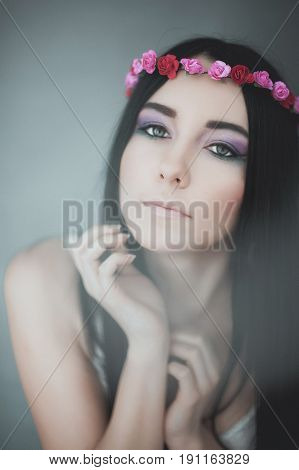 Spring Woman. Woman In Flower Wreath. Spring Portrait Girl With