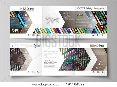 Set of business templates for tri fold square design brochures. Leaflet cover, abstract flat layout, easy editable vector. Colorful background made of stripes. Abstract tubes and dots. Glowing multicolored texture.