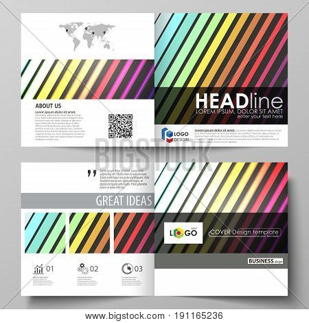 Business templates for square design bi fold brochure, magazine, flyer, booklet or annual report. Leaflet cover, abstract flat layout, easy editable vector. Bright color rectangles, colorful design with geometric rectangular shapes forming abstract beauti