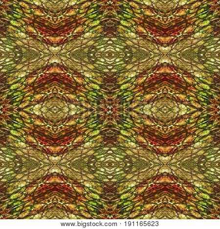 Abstract seamless pattern resembling snake skin. Green brown red and orange background with scales rippling pattern and ovals resembling reptile skin