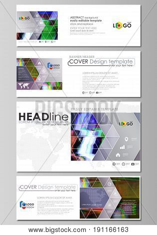 Social media and email headers set, modern banners. Business templates. Easy editable abstract design template, vector layouts in popular sizes. Glitched background made of colorful pixel mosaic. Digital decay, signal error, television fail.