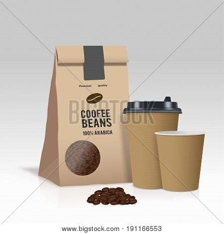 Realistic take away paper coffee cup and brown paper bag with coffee beans. Vector illustration